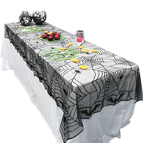 Halloween Props Spider Pumpkin Haunted Black Lace Tablecloth Party Supplies 240x120cm 1pcs -