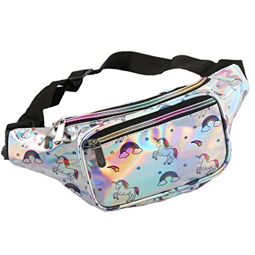Holographic Fanny Pack for Women - Waist Fanny Pack with Adjustable Belt for Rave, Festival, Travel, Party (Horse) - Horses Fun Pack
