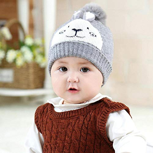 (Myzixuan Winter New Wool hat Children's Warm Pullover Cap Baby Knitted Ear Cap)