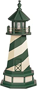 Cape Hatteras, NC Decorative Light Up Wooden Lighthouse, Outdoor Yard Garden Statue - Amish Made in America (3' with Base, Turf Green & Ivory)