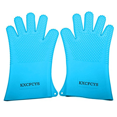 - KXCFCYS Heat Resistant Silicone Gloves Kitchen Bakeware Oven Mitts Pot Holders Silicone Cooking BBQ Pot Holder Mitt Grill Gloves (1 Pair) (Blue)