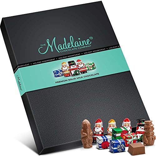 Madelaine Chocolate Gift Box - Whimsical Christmas Holiday-themed Gourmet Gift Basket - Great for Corporate, Business Clients, Teachers, Coaches - 45 Pieces, Assorted Premium Solid Milk Chocolates. (Premium Corporate Gifts)