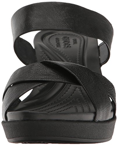 crocs Women's leighann Leather Wedge Sandal, Black/Black, 7 M US by Crocs (Image #4)