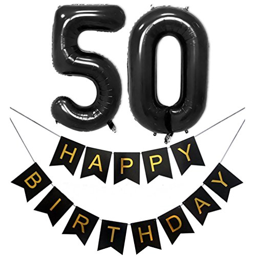 KIYOOMY 40'' Number 50 Balloons with Happy Birthday Banner for 50 Birthday Party Decorations(Number balloons 40'', Letter balloons 16'', Black) for $<!--$12.69-->