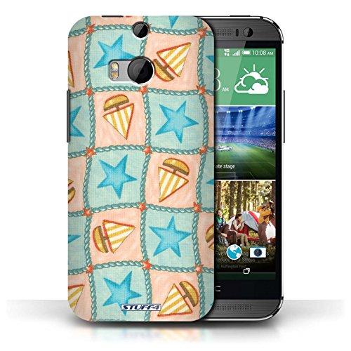 Etui / Coque pour HTC One/1 M8 / Turquoise/Orange conception / Collection de Bateaux étoiles