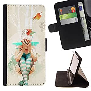 Momo Phone Case / Flip Funda de Cuero Case Cover - Hipster bailarina;;;;;;;; - Apple Iphone 5 / 5S
