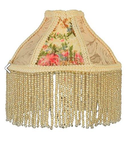 """Meyda Tiffany 25901 Fabric & Fringe Roses Lamp Shade, 6"""""""