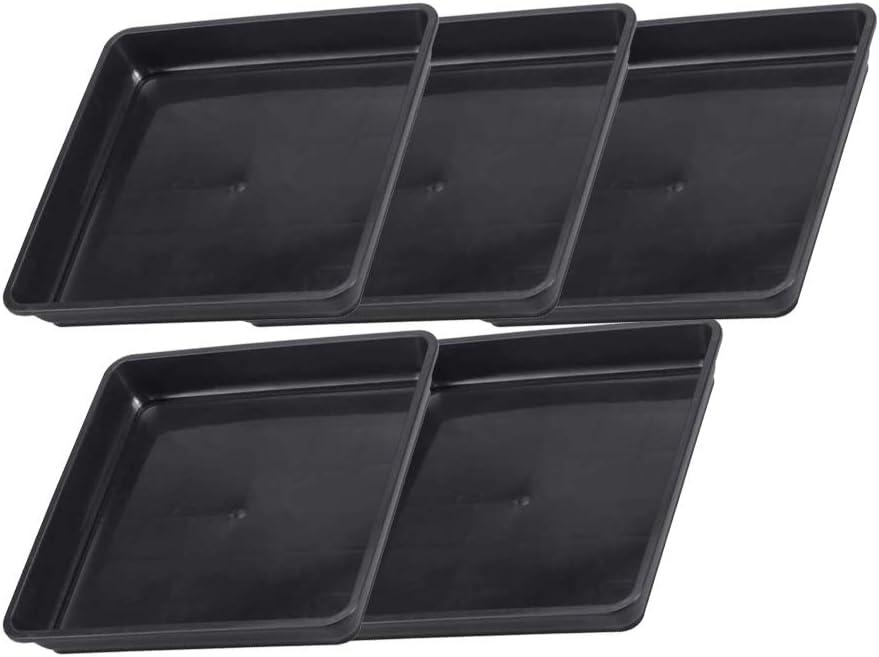 DAYOLY 5 unidades de plato cuadrado negro para plantas, bandeja de ...