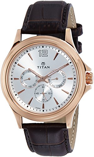 - Titan Workwear Men's Chronograph Watch | Quartz, Water Resistant, Leather Band | Brown Band and White Dial