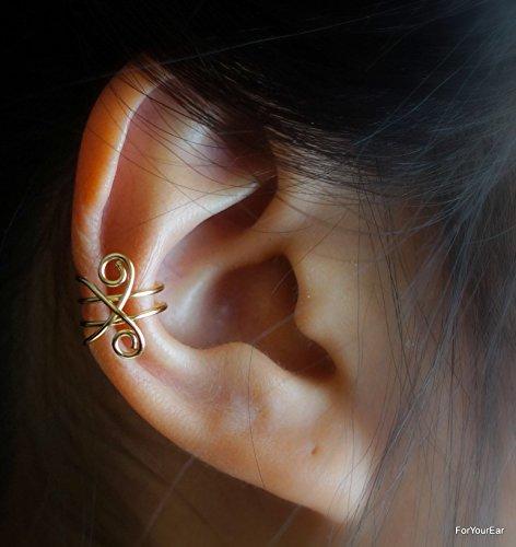 118)Non Pierced Cross Line Simple Ear Cuff- gold,rose gold