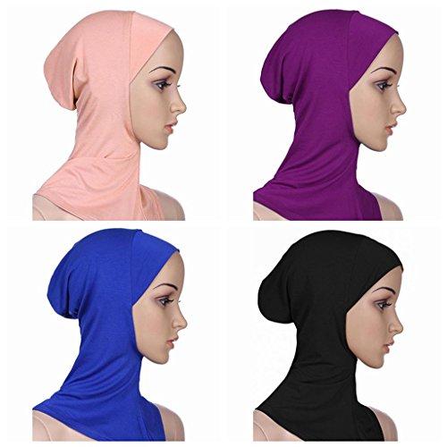 Ksweet 4pcs Lightweight Elastic Hijab Caps Full Cover Hijab Bonnet Islamic Scarf for Women Turban (Black+Blue+Purple+KQ)