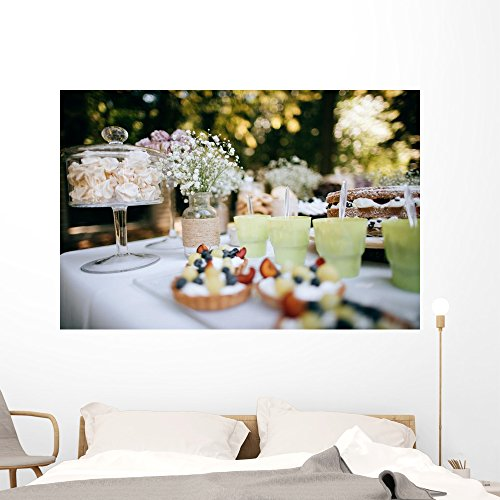 Wallmonkeys FOT9571892-60 Wm359505 Delicious Wedding Reception Candy bar Dessert Table for a Wedding Outdoor Party Ombre Cake Peel & Stick Wall Decal(60 in W X 40 in H),60