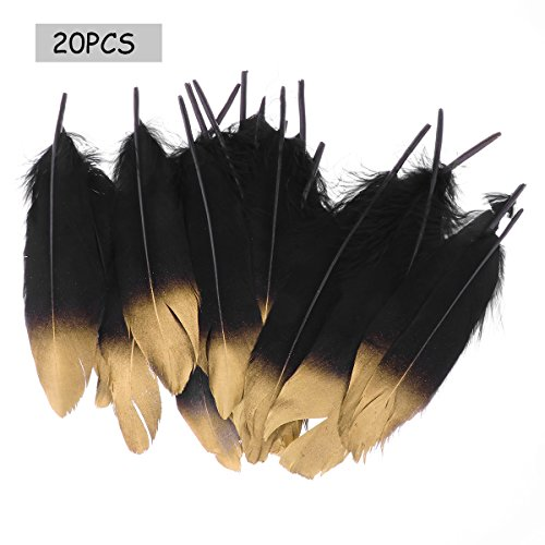 (Gold Dipped Natural Decor Feathers for Homemade Cat Toys DIY Craft Wedding Home Decoration Party Dress-ups Black&Gold)