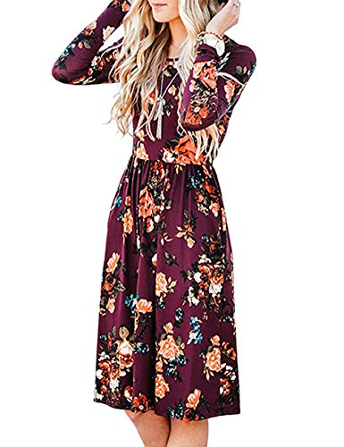 Dress with Pockets for Women,Emvanv Loose Fit Floral Shirt Dresses,Purple Xl