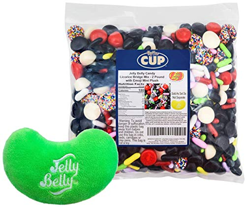 Jelly Belly Candy - Licorice Bridge Mix includes Licorice Pastels, Jelly Beans, and Buttons (Non-pareil with Seeds, Red and Black) 2 Pound Bag - with Jelly Belly Mini Jelly Bean Plushy