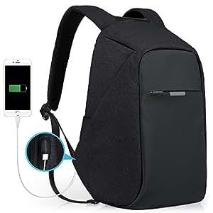 Theft Proof Backpack, Anti-theft Travel Backpack, Hidden Zipper Bag with USB Charging Port, Water Resistant Business Travel Laptop Bag for Student Work Men & Women by Oscaurt Black