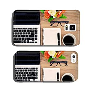 Laptop and cup of coffee with flower on desk cell phone cover case iPhone6 Plus