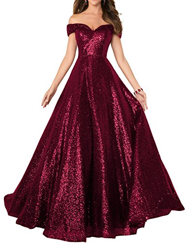 Vivian's bridal 2019 Off Shoulder Sequined Prom Party Dresses for Women A Line Empire Waist Robes Plus Size Formal Evening Skirts Long Elegant Gowns SHPD41 Burgundy Size 20W