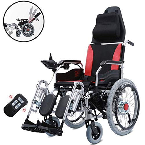 SISHUINIANHUA Intelligent Wheelchair, Electric Wheelchair Remote Control Foldable Backrest Can Be Raised and Lowered 12A Lead Acid Battery Manual/Electric Switching for Elderly Disabled Aid Car ()