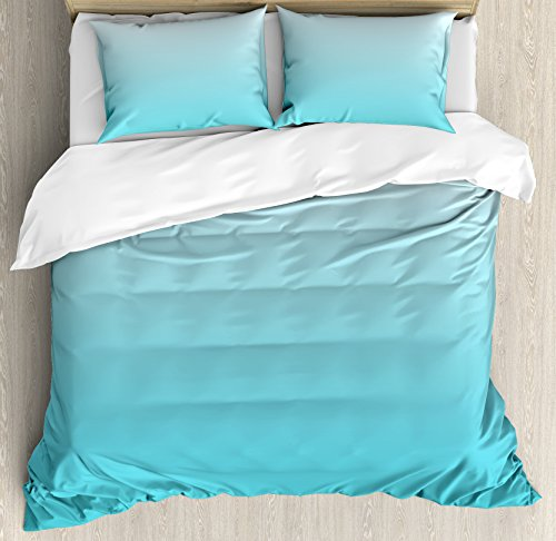 Ambesonne Ombre Duvet Cover Set Queen Size, Deep Maldives Sealife Ocean Inspired Aquatic Color Modern Design Digital Art, Decorative 3 Piece Bedding Set with 2 Pillow Shams, Turquoise White -