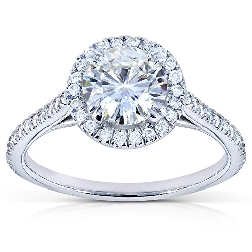 Round Moissanite and Diamond Halo Engagement Ring 1 1/4 CTW in 18k White...