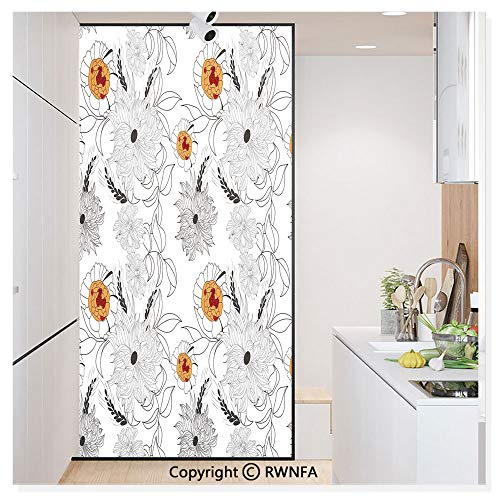 Window Film Door Sticker Glass Film Simplistic Flower Petals Nature Beauty Florets Growth Illustration Both Suitable for Home and Office, 17.7 x 78.7 inch,Orange Baby Blue White Black