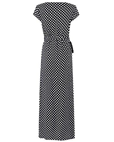 Elegante Corta Cuello Negro Lunares Cóctel Casual Playa Manga Escote Mujer Vestido Dress ACHIOOWA Bohemio Larga Fiesta Falda V PwUxBEyq