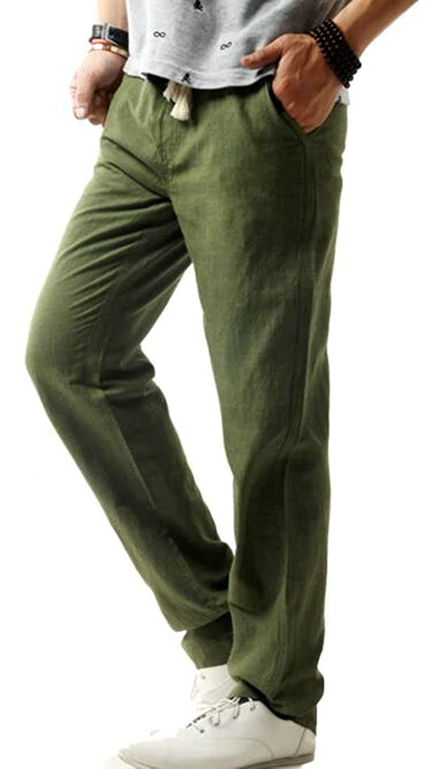 Easonp Mens Loose Fit Thin Casual Linen Drawstring Solid Color Pants