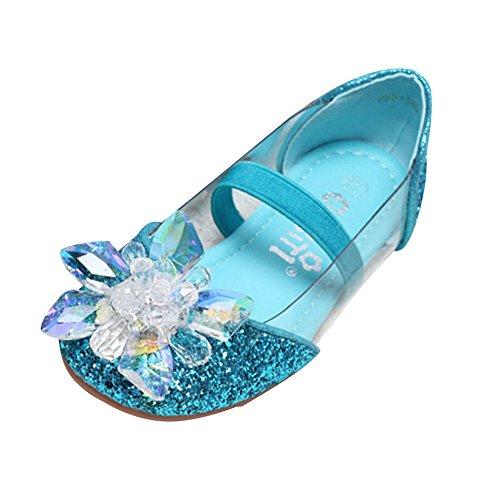 Powder Blue Kids Shoes (AMUR LEOPARD Kids Girls Mary Jane Shoes Diamonds Glitter Powder Bowknot Dance Wedding Princess Shoes(Toddler/Little Kid) Blue 8.5M US Toddler)