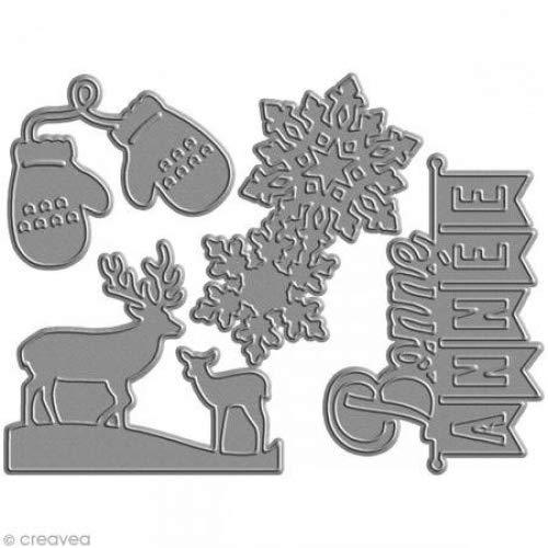 Florilè ges Design FDD21428 - Fustelle per scrapbooking, motivo: buon anno, 11,5 x 12,5 x 0,2 cm, nero [lingua francese] Florilèges Design