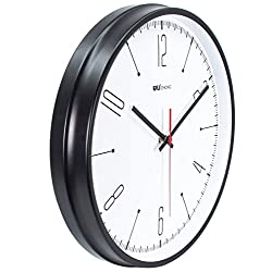 45Min 12 inch Iron Metal Wall Clock, Silent Non Ticking Quality Quartz Battery Operated, Easy to Read for Indoor Decor(Black 2#)