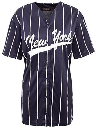 243b54728 Envy Boutique Ladies New York Stripes American Baseball Varsity NY Jersey  TOP T-Shirt Navy