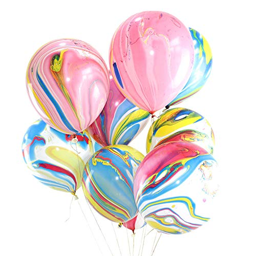 100 Pcs Marble Agate Latex Balloons, 10 Inches Party Balloon Decoration for Wedding, Birthday Party, Photobooth, Backdrop Etc.(Multicolor) ()