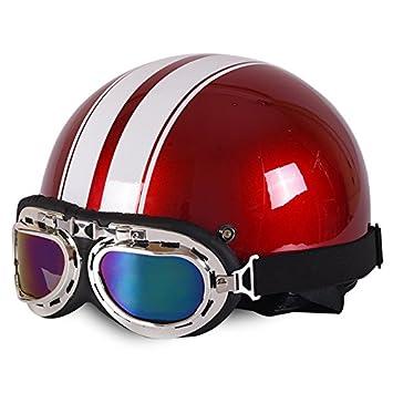Casco de motocicleta abierto casco Halley casco Crash para moto scooter bicicleta con visera + gafas