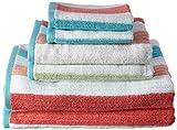 Caro Home 6PC-1128-T1-1007 Stripes Karissa 6-Piece Cotton Bath Towel Set