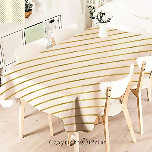 Tablecloth –for Home, Restaurants, Cafés –Gold Foil Seem Abstract Modern Horizontal– Be it for Everyday Dinner Picnic or Occasions Like Thanksgiving,W55 xL83,White and ()