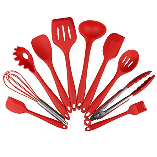 COUKONG 10 Pieces Kitchen Utensil Set Silicone Kitchen Set Nonstick Cookware,Baking Tools Turner, Whisk, Spoon,Brush,spatula, Ladle Slotted turner Tongs Pasta Fork Kitchen Gift Set
