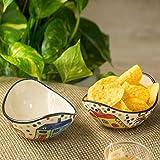 ExclusiveLane Curved Ceramic Snack Serving Bowl Set, 2-Pieces, Multicolour