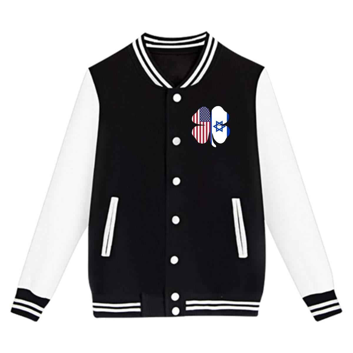 NJKM5MJ Unisex Youth Baseball Uniform Jacket American Israel Flag Shamrock Hoodie Coat Sweater Sweatshirt
