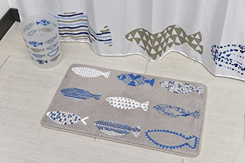 "EVIDECO 17 W x 29.5 Printed Microfiber Mat Bath Rug 29.5""x17"", Nautical, Blue from EVIDECO"