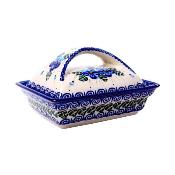 Polish Pottery Ceramika Boleslawiec, 0352/162, Butter Dish Deep, 2 Cubes, Royal Blue Patterns with Blue Pansy Flower Motif