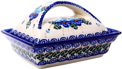 Polish Pottery Ceramika Boleslawiec, 0352/162, Butter Dish Deep, 2 Cubes, Royal Blue Patterns with Blue Pansy Flower Motif (Pottery Dishes Blue)