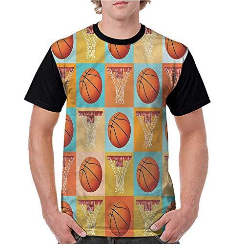 (Lightly Shirts,Sports,Square Tiles Basketballs S-XXL Print Short Sleeve Baseball Ladies Tee)