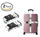 YEAHSPACE Travel Luggage Strap English Bulldog Glasses 2-Pack Adjustable Suitcase Packing Belt with TSA Combination Lock