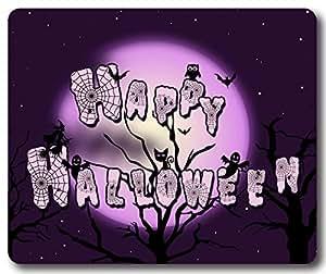 Holidays Halloween Owl Cat Moon Night Tree Bat Ghost Mousepad,Rectangle Mouse Pad