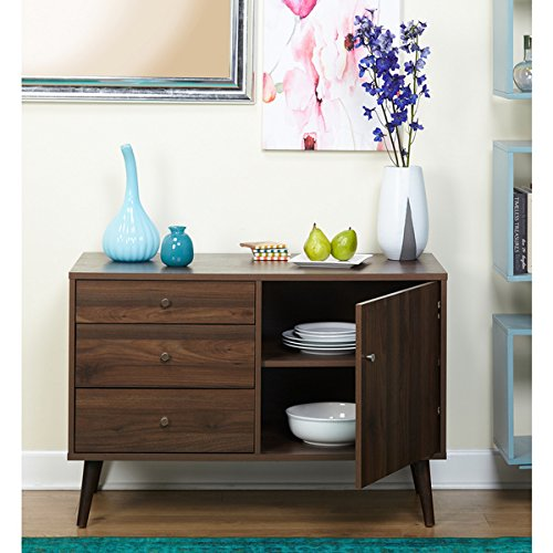 Simple Living Carroll Mid-Century Buffet l Three Drawers and a Cabinet for Flatware, Cutlery, Table Linens, Wine Accessories and More 4213094