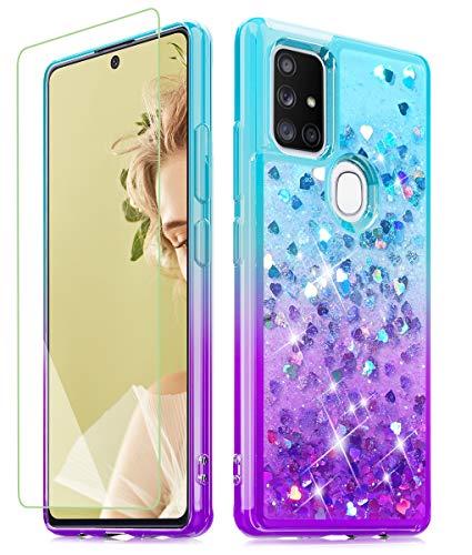 Funda Con Glitter + Vidrio Para Samsung A21s Azul Purpura