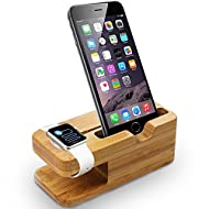 NIUTOP Apple Watch Charge Stand, iPhone Stand Holder, station de charge Bois multifonctionnel bambou naturel Charging Dock Station double Support pour Apple Watch l'iWatch 42mm et 38mm et iPhone6 iPhone 6 Plus 5 / 5S / 5C / 4S(Chargeur non compris)
