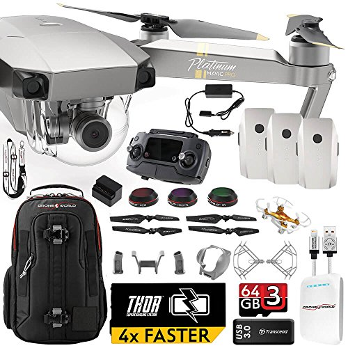 DJI Mavic PRO Platinum UPGRADE PLUS Kit w/ Backpack, Custom Bracket + Mount, Sunshade, 3 Batteries + Thor Charger, Lens Filters & - Filter Review Lens Platinum