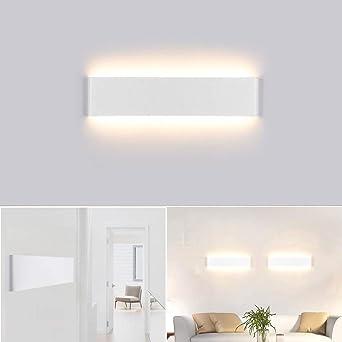 Aplique Pared Interior LED IP44 Impermeable Kambo Lámpara de Pared Interior Moderna 14W 40CM Blanco Cálido 2800K 1000LM AC85-265V Aluminio Decoración para Salon Pasillo Escalera Dormitorio Baño: Amazon.es: Iluminación